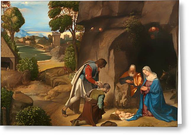 Religious Artwork Paintings Greeting Cards - Adoration of the Shepherds Greeting Card by Giorgione