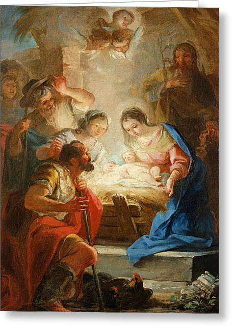 Virgin Mary Photographs Greeting Cards - Adoration Of The Shepherds Greeting Card by Mariano Salvador de Maella