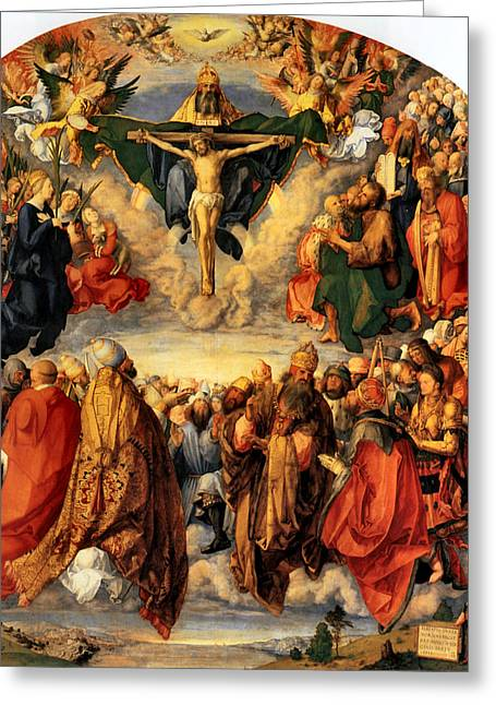 Crucifixtion Greeting Cards - Adoration of the Trinity Greeting Card by Albrecht Durer