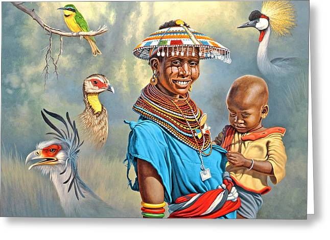 African Woman Greeting Cards - Adornments Greeting Card by Paul Krapf