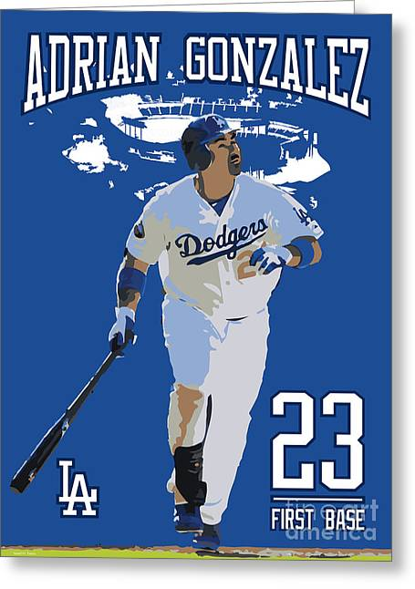 Los Angeles Dodgers Drawings Greeting Cards - Adrian Gonzalez Greeting Card by Israel Torres