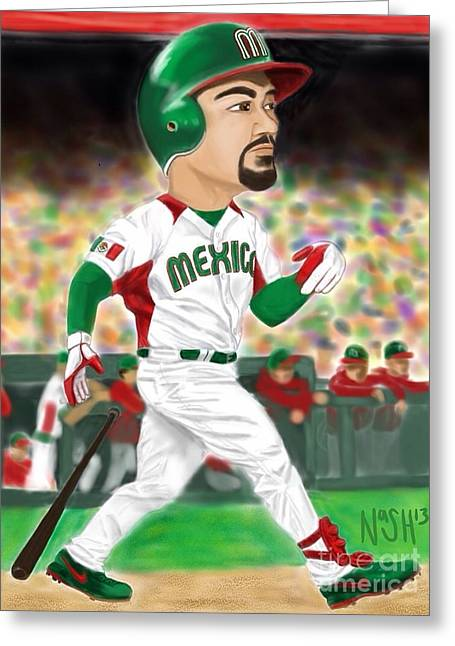 Boston Red Sox Greeting Cards - Adrian Gonzalez Team Mexico Greeting Card by Jeremy Nash