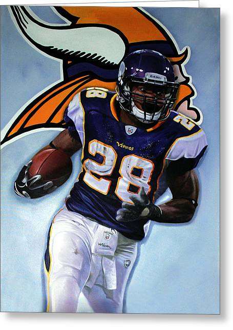 Adrian Peterson Greeting Cards - Adrian Peterson 24x36 Greeting Card by Absolon Moreau