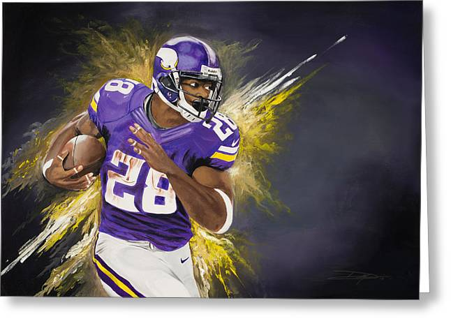 Don Medina Greeting Cards - Adrian Peterson Greeting Card by Don Medina