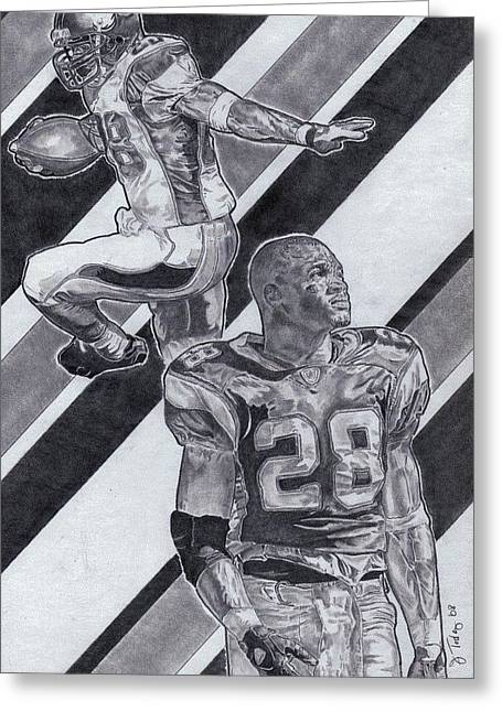 Pro Football Drawings Greeting Cards - Adrian Peterson Greeting Card by Jonathan Tooley