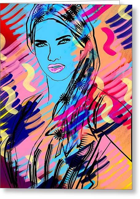 Super Stars Drawings Greeting Cards - Adriana Greeting Card by Bogdan Floridana Oana