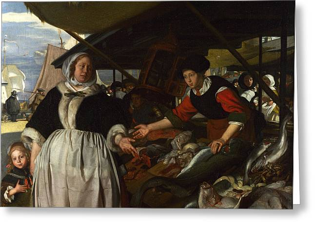 Emanuel Greeting Cards - Adriana van Heusden and Daughter at the Fishmarket Greeting Card by Emanuel de Witte