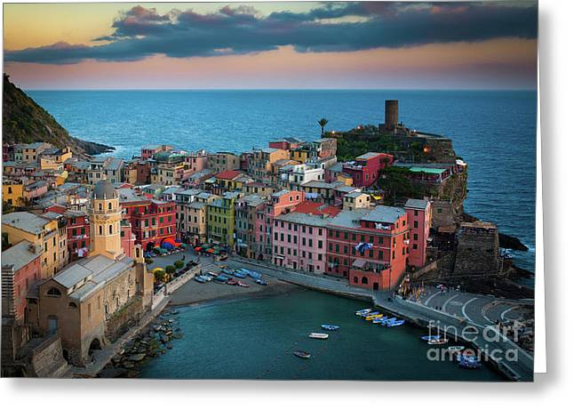 Cinque Terre Greeting Cards - Adriatic Paradise Greeting Card by Inge Johnsson