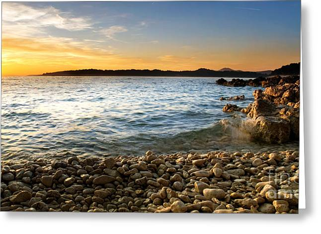 Mediterranean Landscape Greeting Cards - Adriatic pebbles Greeting Card by Sinisa Botas