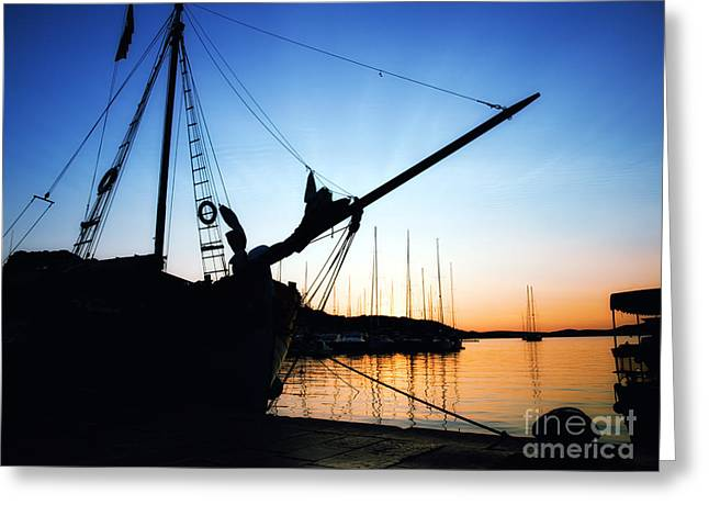 Pirate Ships Greeting Cards - Adriatic port Greeting Card by Sinisa Botas