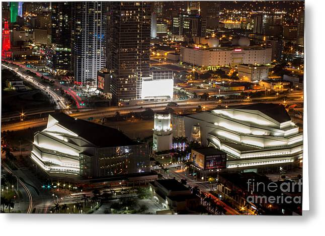 American Airlines Arena Greeting Cards - Adriene Arsht Performing Art Center Greeting Card by Rene Triay Photography