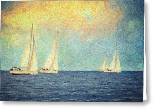Recently Sold -  - Blue Sailboat Greeting Cards - Adrift Greeting Card by Taylan Soyturk