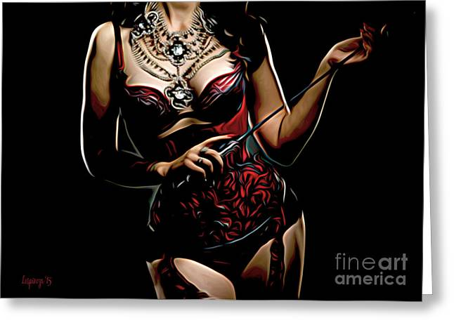 Dominatrix Greeting Cards - Adult Red Greeting Card by Larry Espinoza