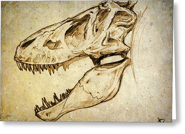Geology Drawings Greeting Cards - Adult Tyrannosaurus Rex Skull Greeting Card by Paul Gioacchini
