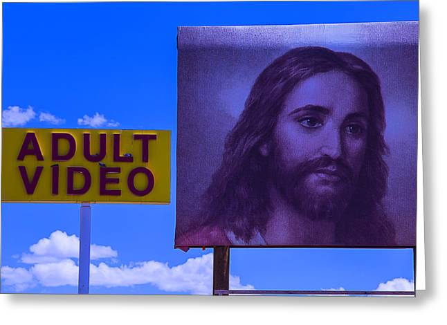 Funny Word Greeting Cards - Adult Video Sign Greeting Card by Garry Gay