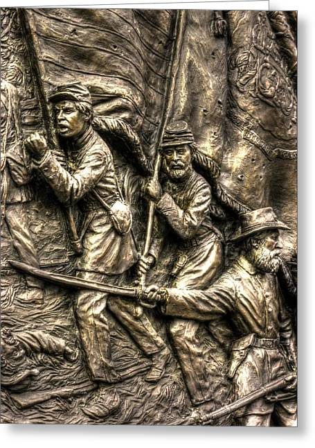 Third Day Of Battle Greeting Cards - Advancing the Colors - State of Delaware Monument Gettysburg Detail-A Autumn Mid-Day Greeting Card by Michael Mazaika