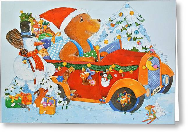 Advent Greeting Cards - Adventskalender Bear, 2009 Wc On Paper Greeting Card by Christian Kaempf