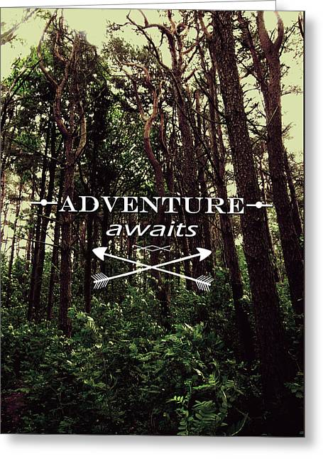 Retro Typography Greeting Cards - Adventure Awaits Greeting Card by Nicklas Gustafsson