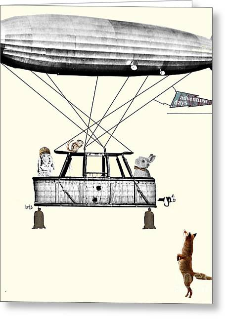Animal Art Posters In Mixed Media Greeting Cards - Adventure Days 2  Greeting Card by Bri Buckley