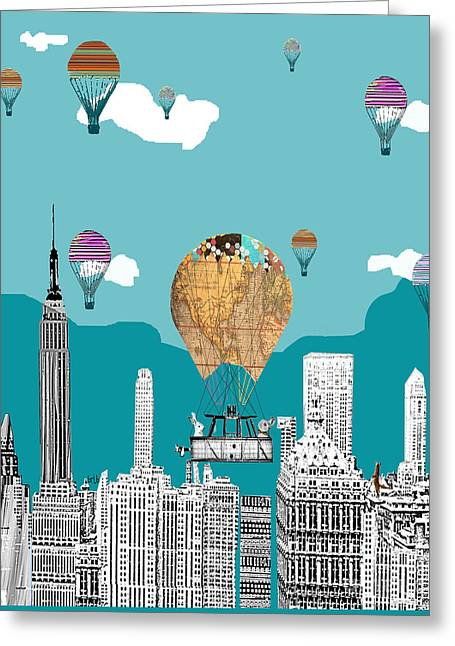 Skylines Mixed Media Greeting Cards - Adventure Days New York Greeting Card by Bri Buckley