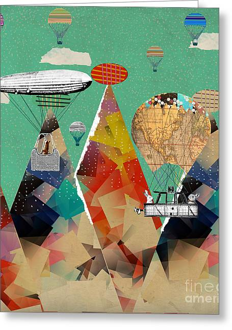 Balloon Art Print Greeting Cards - Adventure Days Over The Alps Greeting Card by Bri Buckley