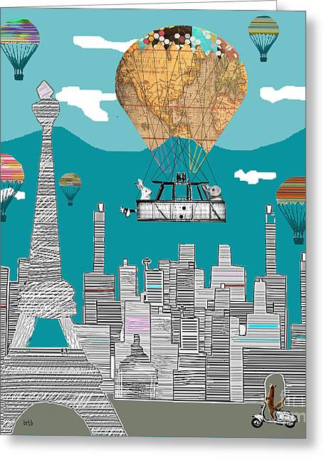 Paris At Night Greeting Cards - Adventure Days Paris  Greeting Card by Bri Buckley
