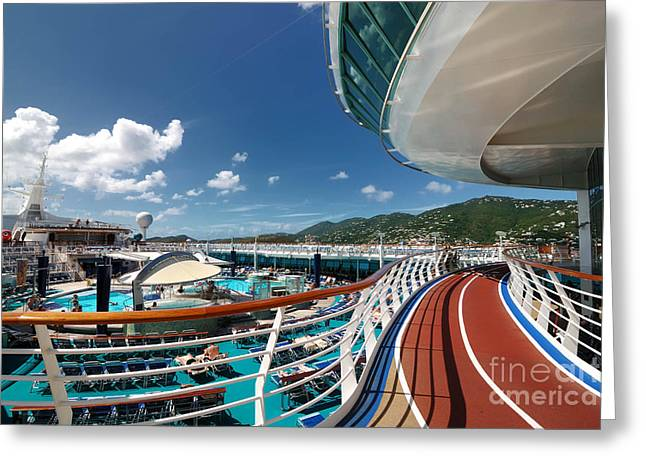 Cruise Vacation Greeting Cards - Adventure of the Seas Jogging Track Greeting Card by Amy Cicconi