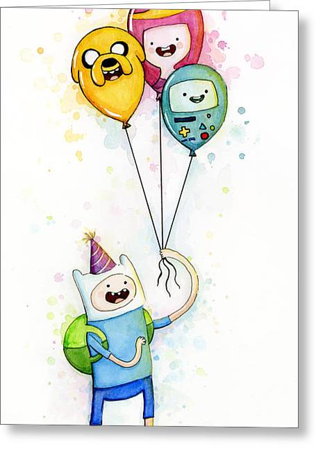 Party Greeting Cards - Adventure Time Finn with Birthday Balloons Jake Princess Bubblegum BMO Greeting Card by Olga Shvartsur