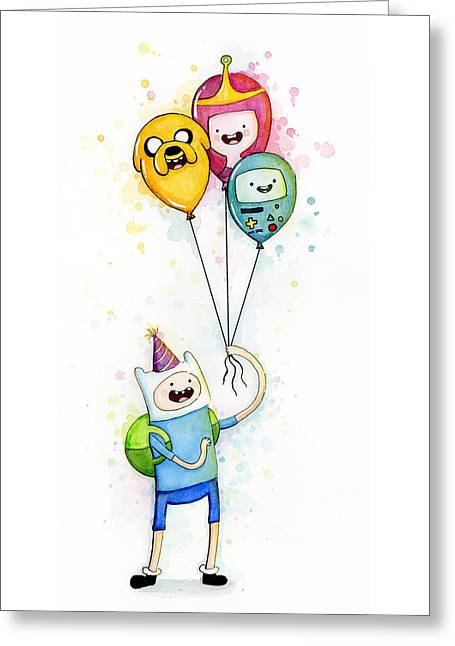 Children Greeting Cards - Adventure Time Finn with Birthday Balloons Jake Princess Bubblegum BMO Greeting Card by Olga Shvartsur