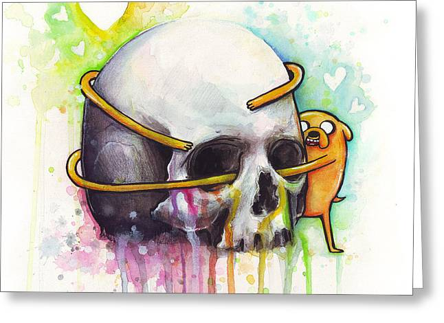 Kids Mixed Media Greeting Cards - Adventure Time Jake Hugging Skull Watercolor Art Greeting Card by Olga Shvartsur