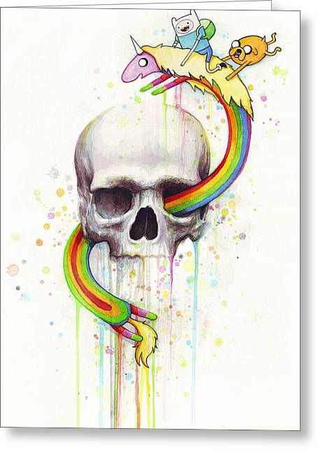 Humans Greeting Cards - Adventure Time Skull Jake Finn Lady Rainicorn Watercolor Greeting Card by Olga Shvartsur