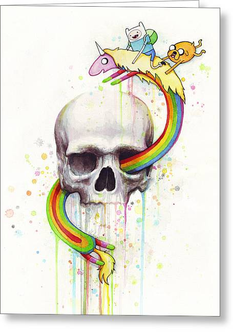 Adventure Greeting Cards - Adventure Time Skull Jake Finn Lady Rainicorn Watercolor Greeting Card by Olga Shvartsur