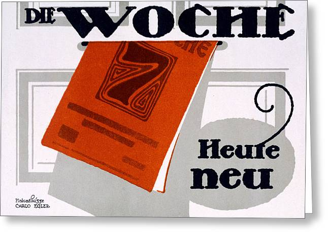 Publication Greeting Cards - Advert For Die Woche Greeting Card by Carlo Egler