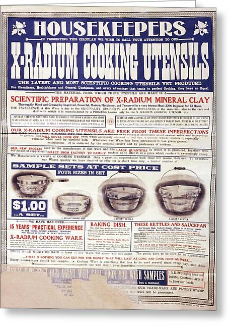 Advert For X-radium Cooking Pots Greeting Card by Library Of Congress