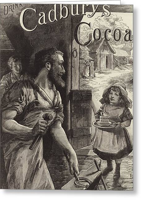 Blacksmiths Greeting Cards - Advertisement for Cadburys Drinking Cocoa Greeting Card by English School