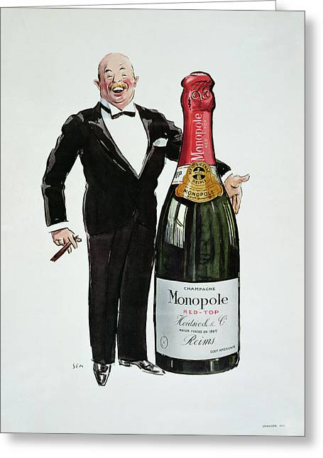 Bubbly Drawings Greeting Cards - Advertisement for Heidsieck Champagne Greeting Card by Sem