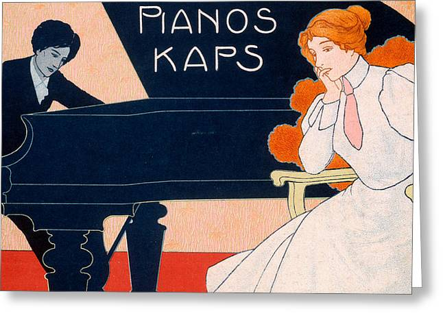 Playing Musical Instruments Drawings Greeting Cards - Advertisement for Kaps Pianos Greeting Card by Hans Pfaff