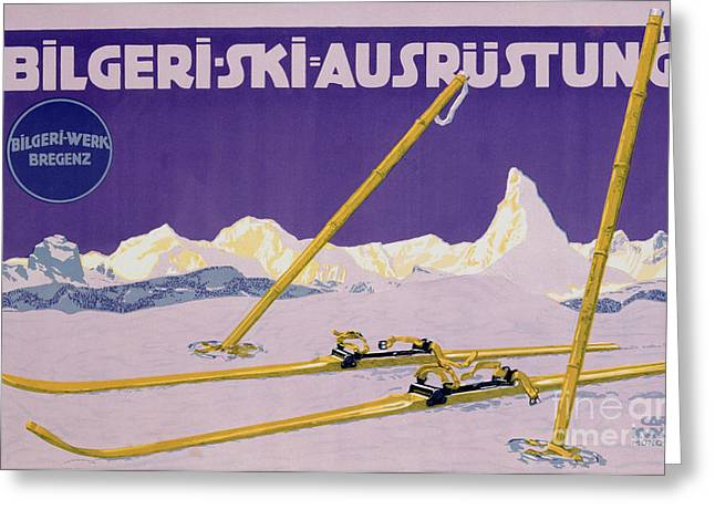 Skiing Poster Greeting Cards - Advertisement for skiing in Austria Greeting Card by Carl Kunst