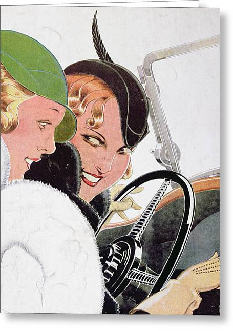 1930s Greeting Cards - Advertisement for Solex Carburettors Greeting Card by Rene Vincent