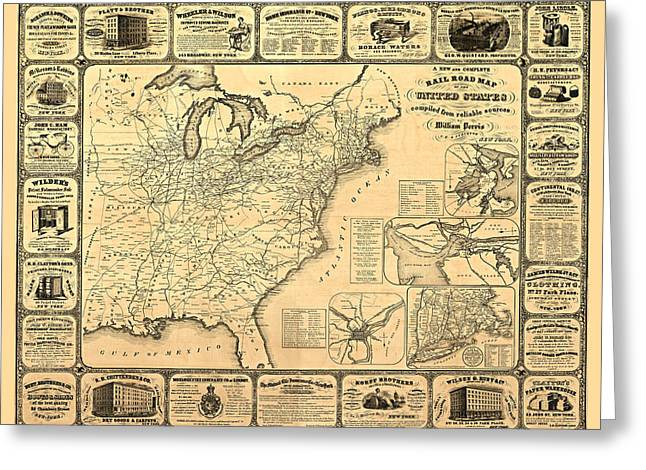 Engraving Digital Greeting Cards - Advertising Map Greeting Card by Gary Grayson