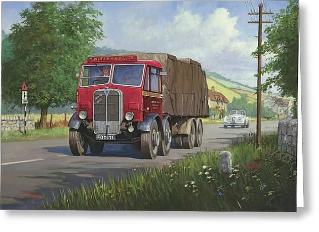 Lorries Greeting Cards - AEC Mammoth Major in Devon Greeting Card by Mike  Jeffries