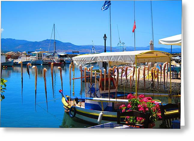 Stillness Greeting Cards - Aegean Harbor Idyll Greeting Card by Andreas Thust