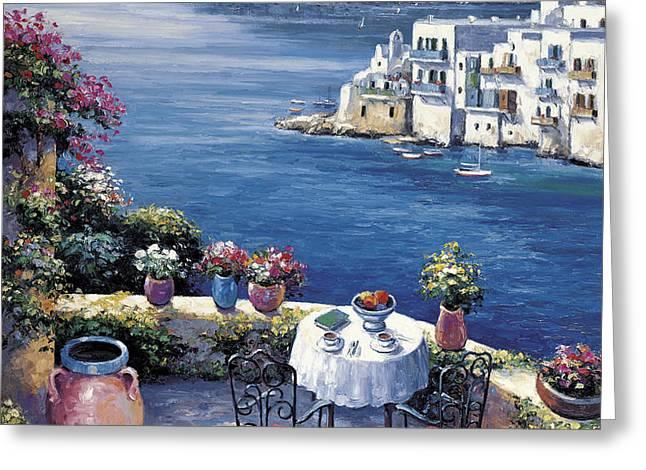 Aegean Vista Greeting Card by John Zaccheo