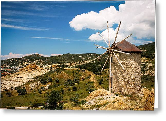 Aegean Windmill Greeting Card by Suzanne Morris