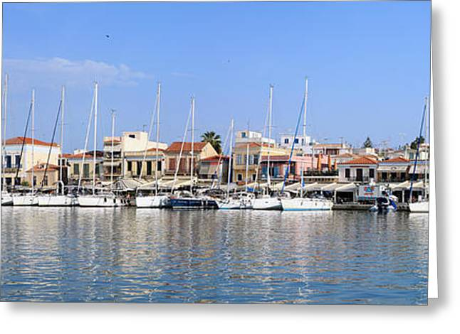 Mediterranean Style Greeting Cards - Aegina town harbour  Greeting Card by Paul Cowan