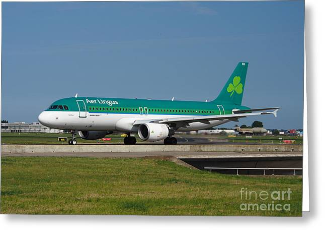 Klm Greeting Cards - Aer Lingus Airbus A320 Greeting Card by Paul Fearn