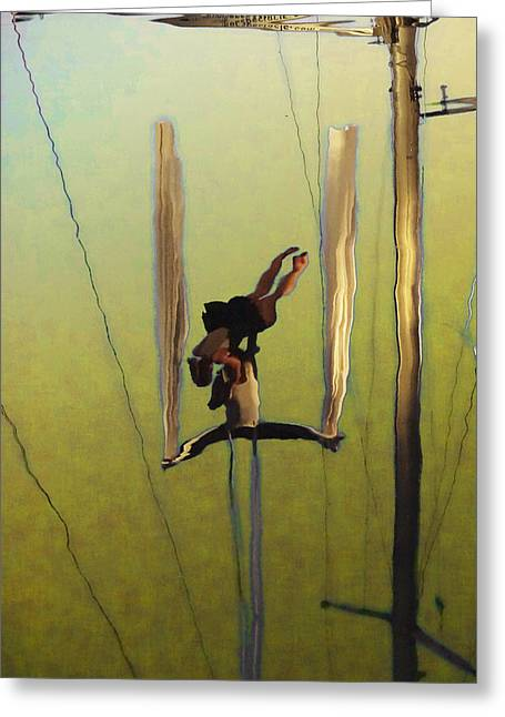 Boats In Reflecting Water Greeting Cards - Aerial Acrobatic Artistry2  Greeting Card by Anne Mott