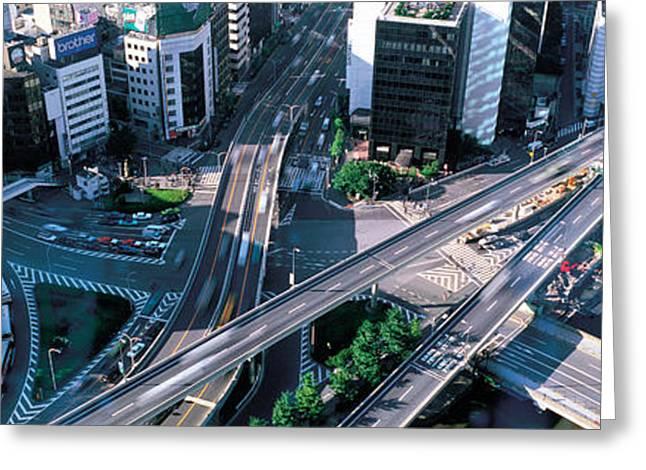 City Buildings Greeting Cards - Aerial Akasaka Tokyo Japan Greeting Card by Panoramic Images