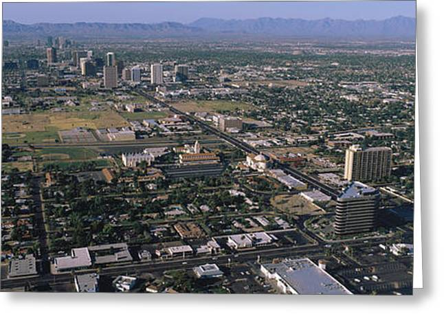 Sprawl Greeting Cards - Aerial Central Avenue Phoenix Az Greeting Card by Panoramic Images