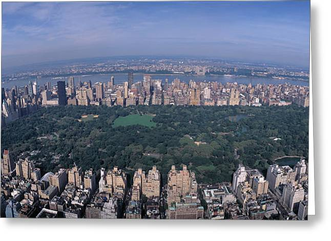 New York Vista Greeting Cards - Aerial Central Park New York Ny Usa Greeting Card by Panoramic Images